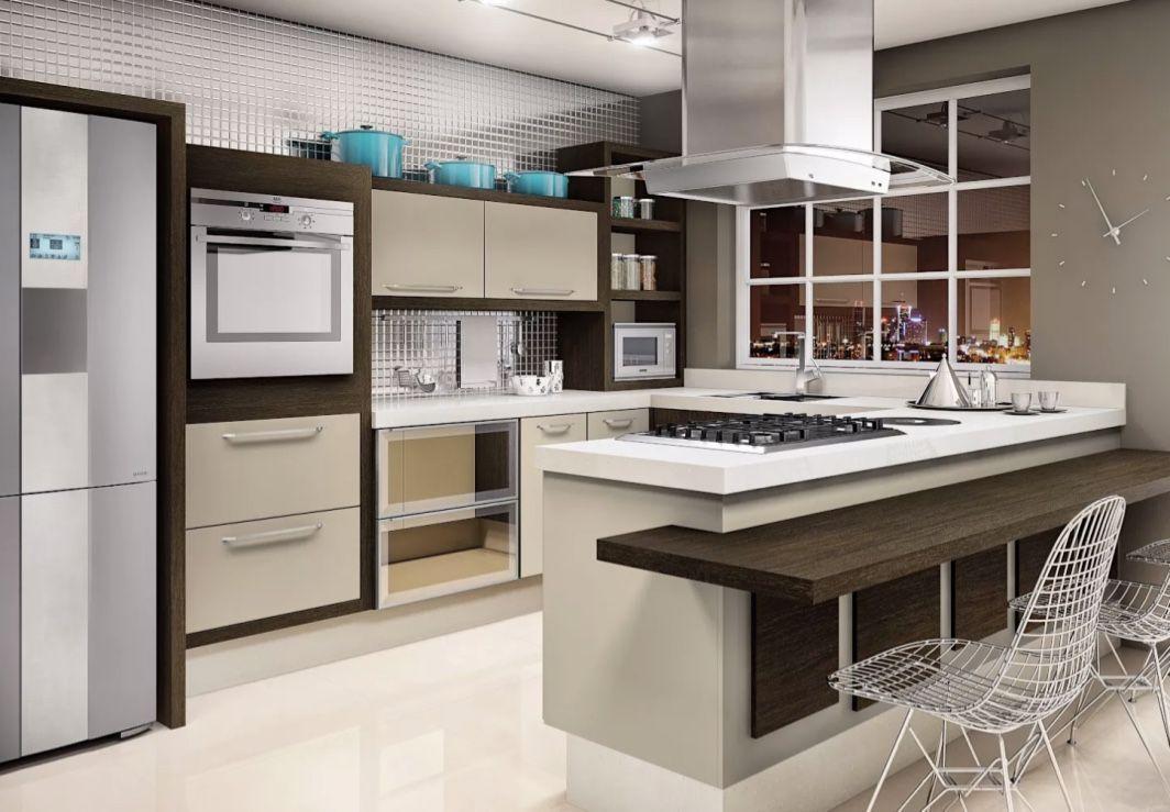 Cozinha clean com decoração marrom.