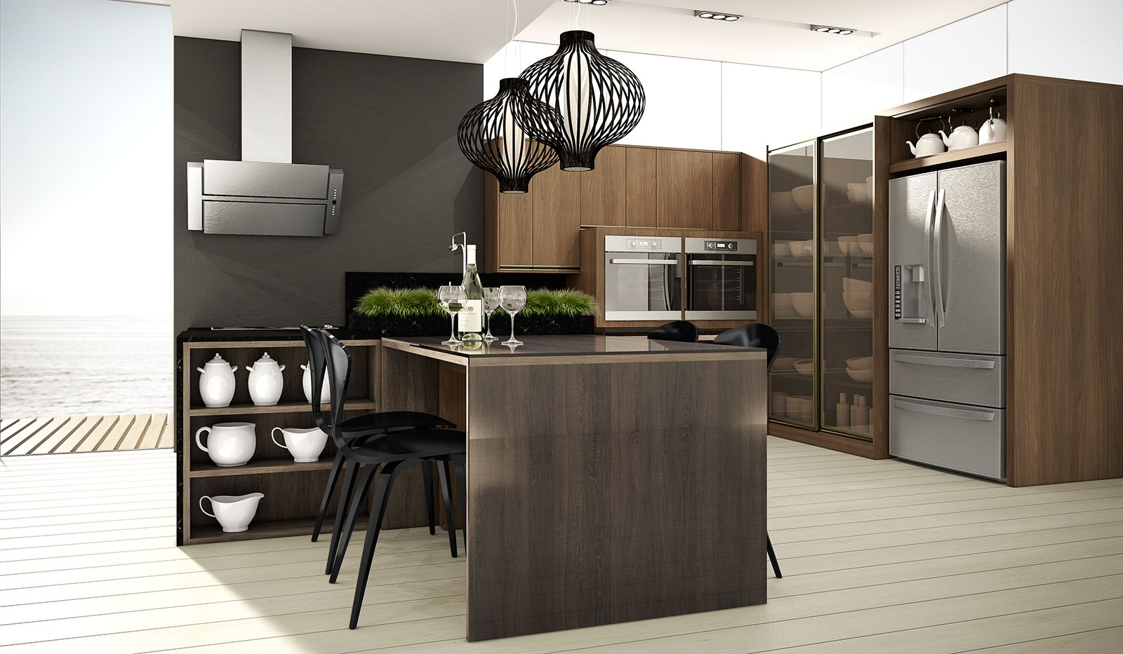 Cozinha marrom com ilha central.