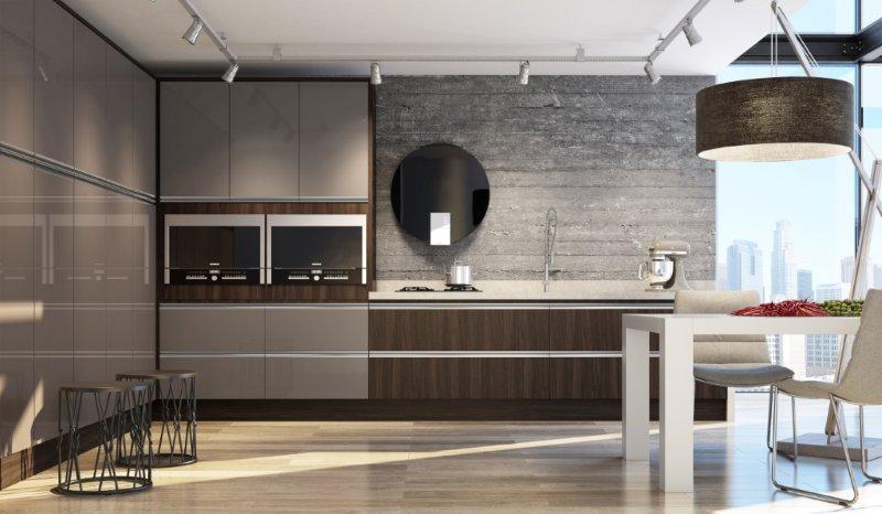 Cozinha marrom com estilo industrial.