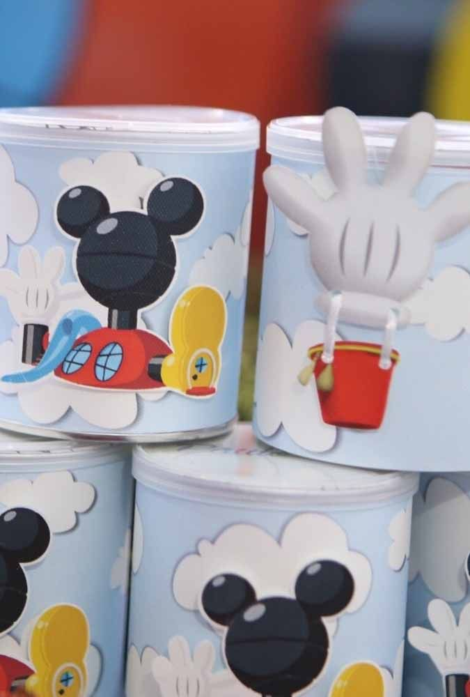 Potes para lembrancinhas da festa do Mickey