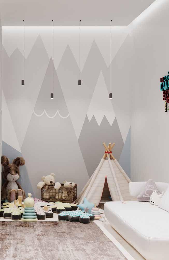 Pé-direito alto e luminárias pendentes são o destaque desse quarto