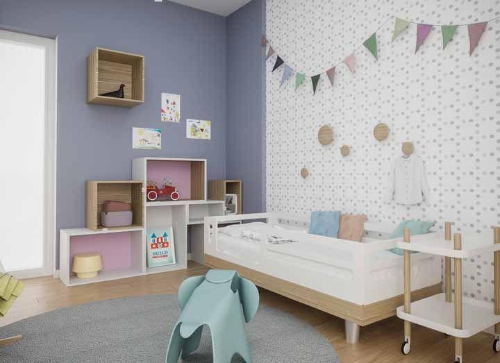 Bandeirinhas dão um toque especial a decoração do quarto infantil
