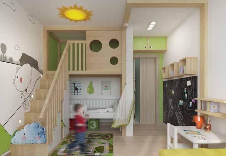 O verde é o destaque deste quarto montessoriano