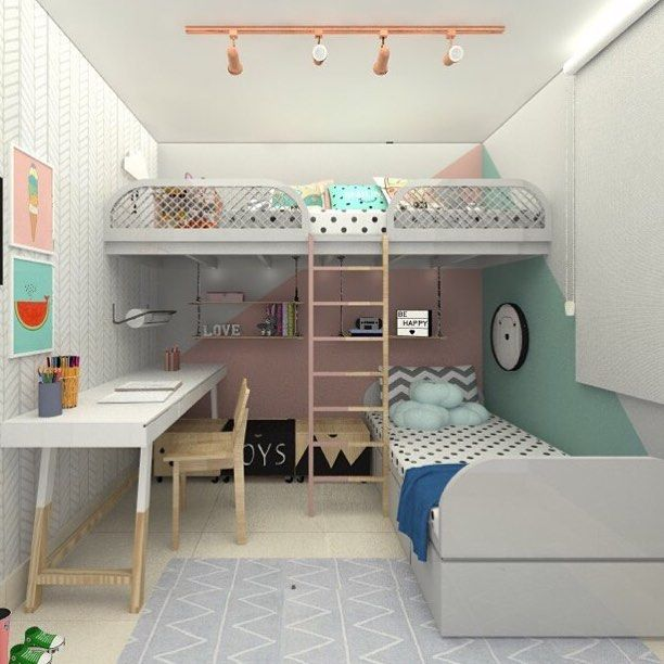 Beliche com Escrivaninha 60 Ideias Criativas e Inspiradoras -> Como Decorar Um Quarto Pequeno Para Duas Irmãs