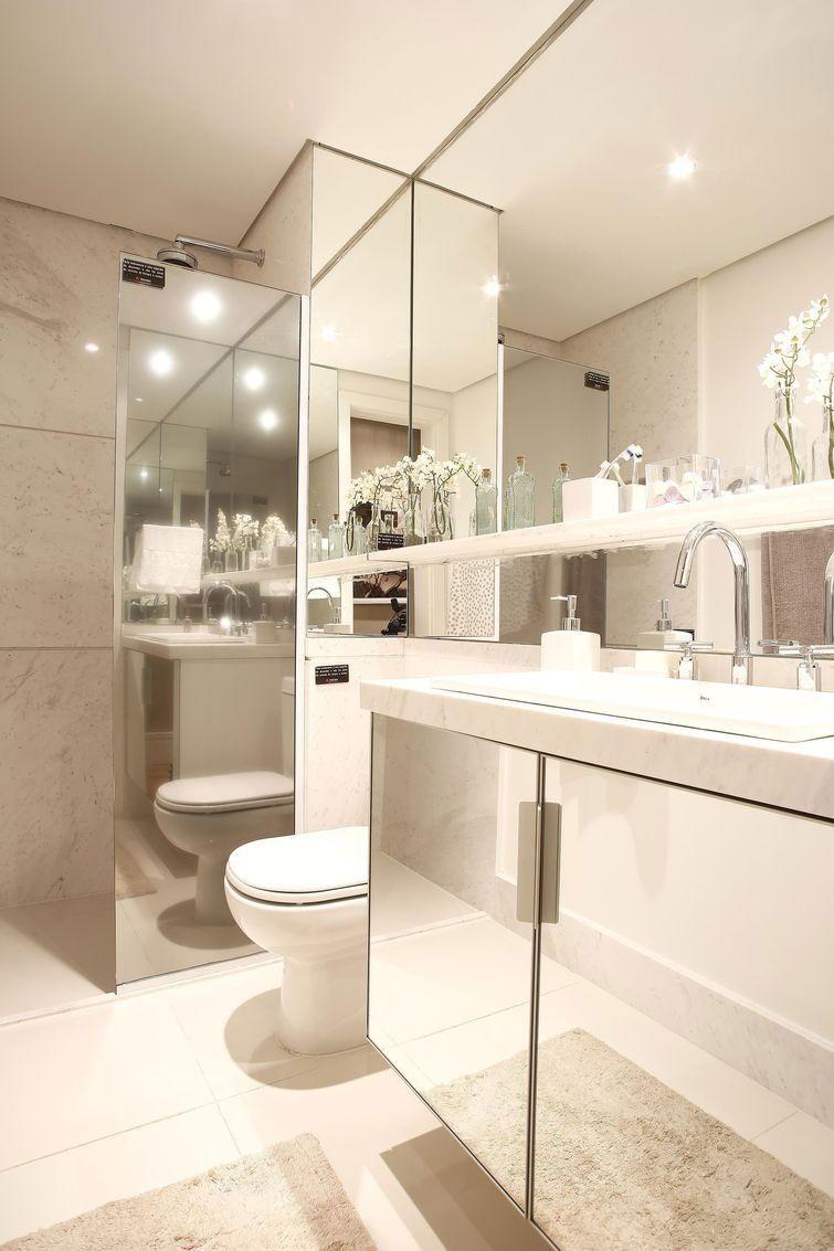 Gabinete para Banheiro 65 Modelos e Como Escolher -> Banheiro Feminino Chique