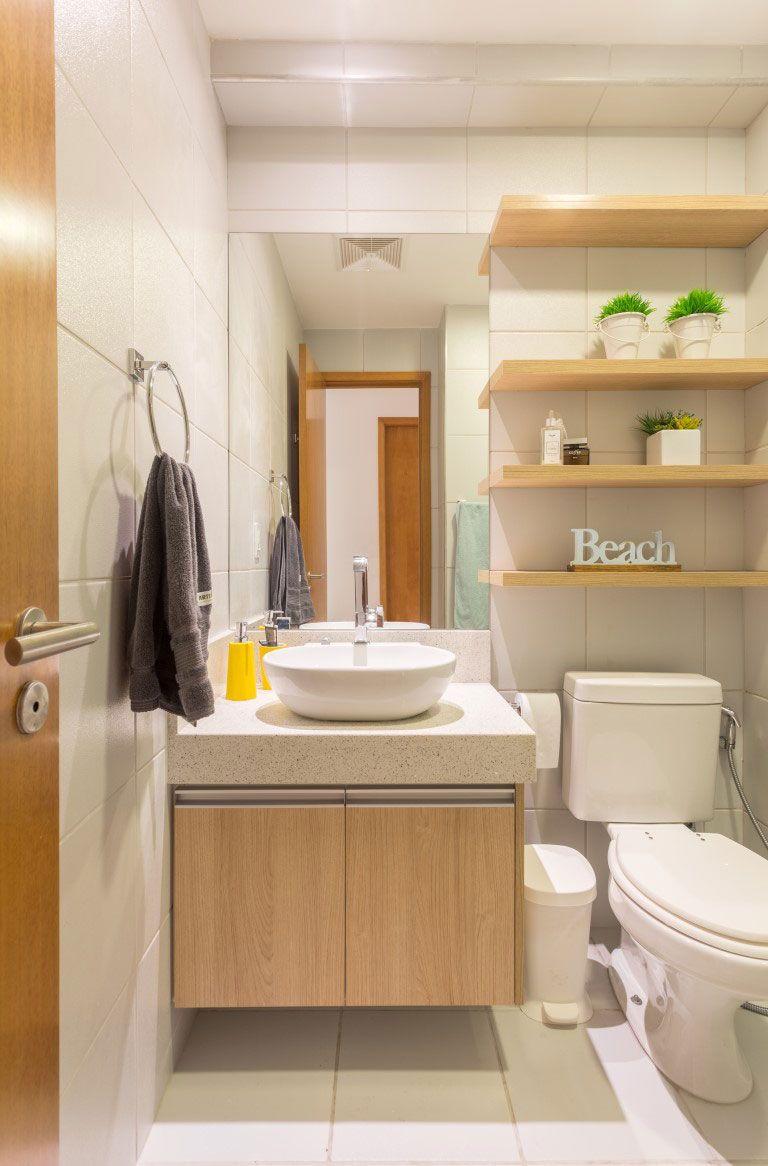 Gabinete para Banheiro 65 Modelos e Como Escolher -> Luminaria Banheiro Pequeno