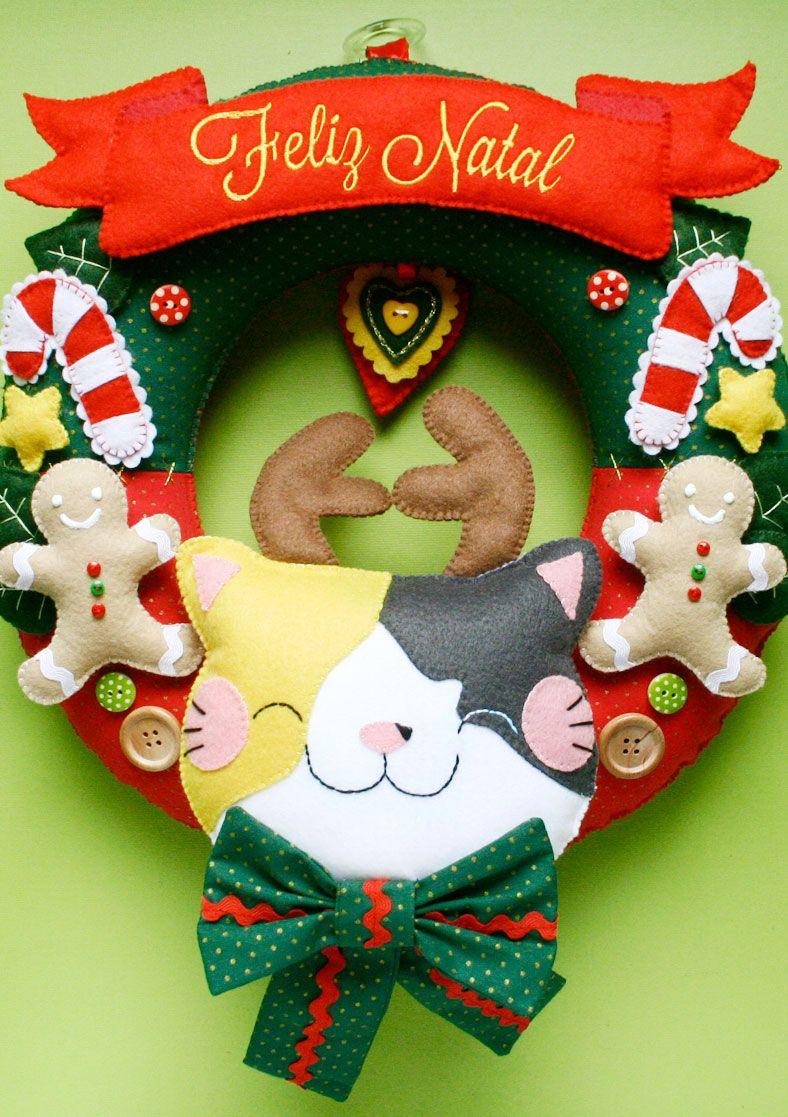Belíssima guirlanda de Natal de tecido de feltro