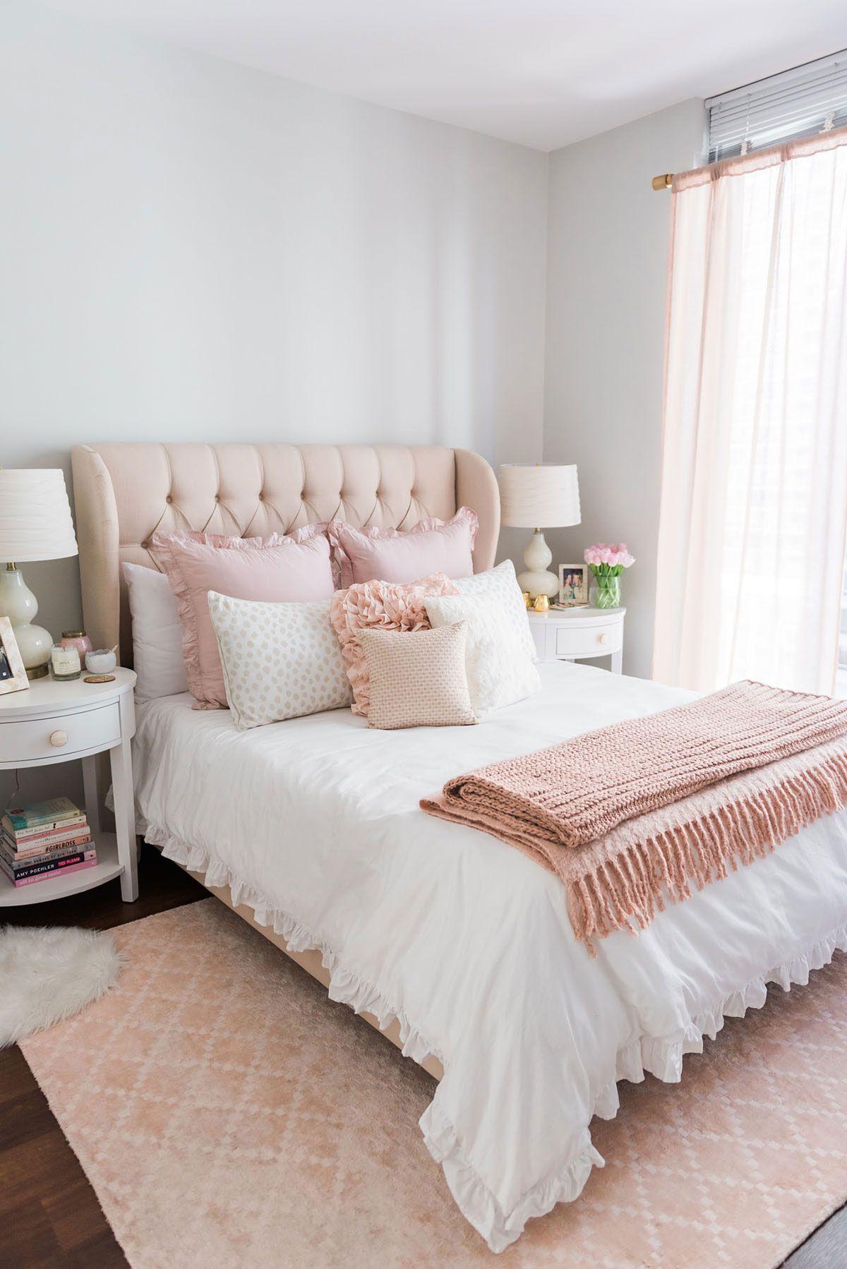 Cabeceira capiton 60 modelos fotos e passo a passo - Pink white and gold bedroom ideas ...