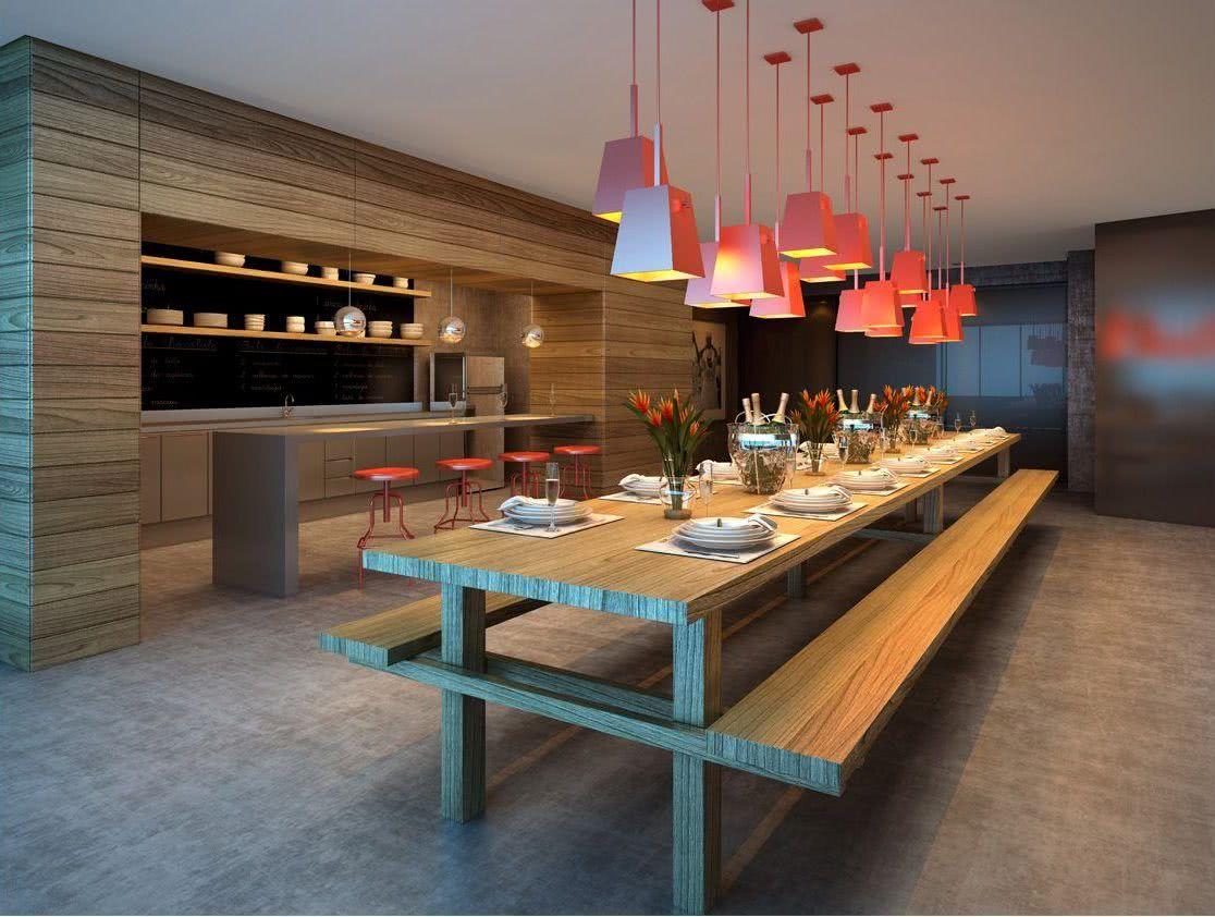 Use uma mesa extensa na área gourmet