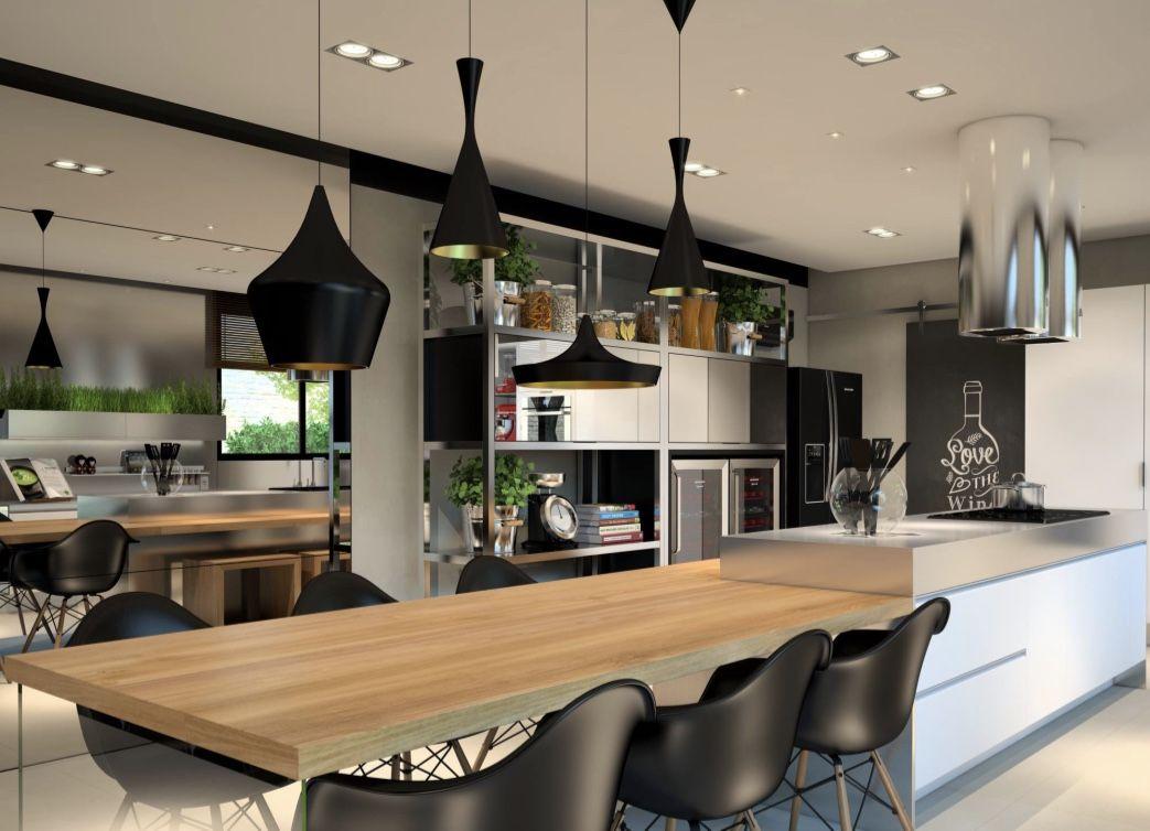 Agregue uma mesa de jantar a sua bancada central na área gourmet