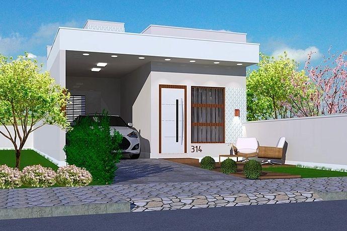 Planta de casa térrea com arquitetura moderna.