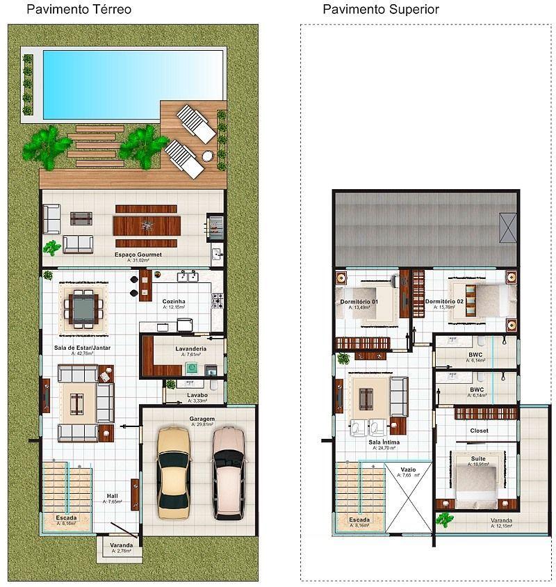 Plantas de casas projetos modelos com 80 fotos gr tis for Casa moderna 90m2