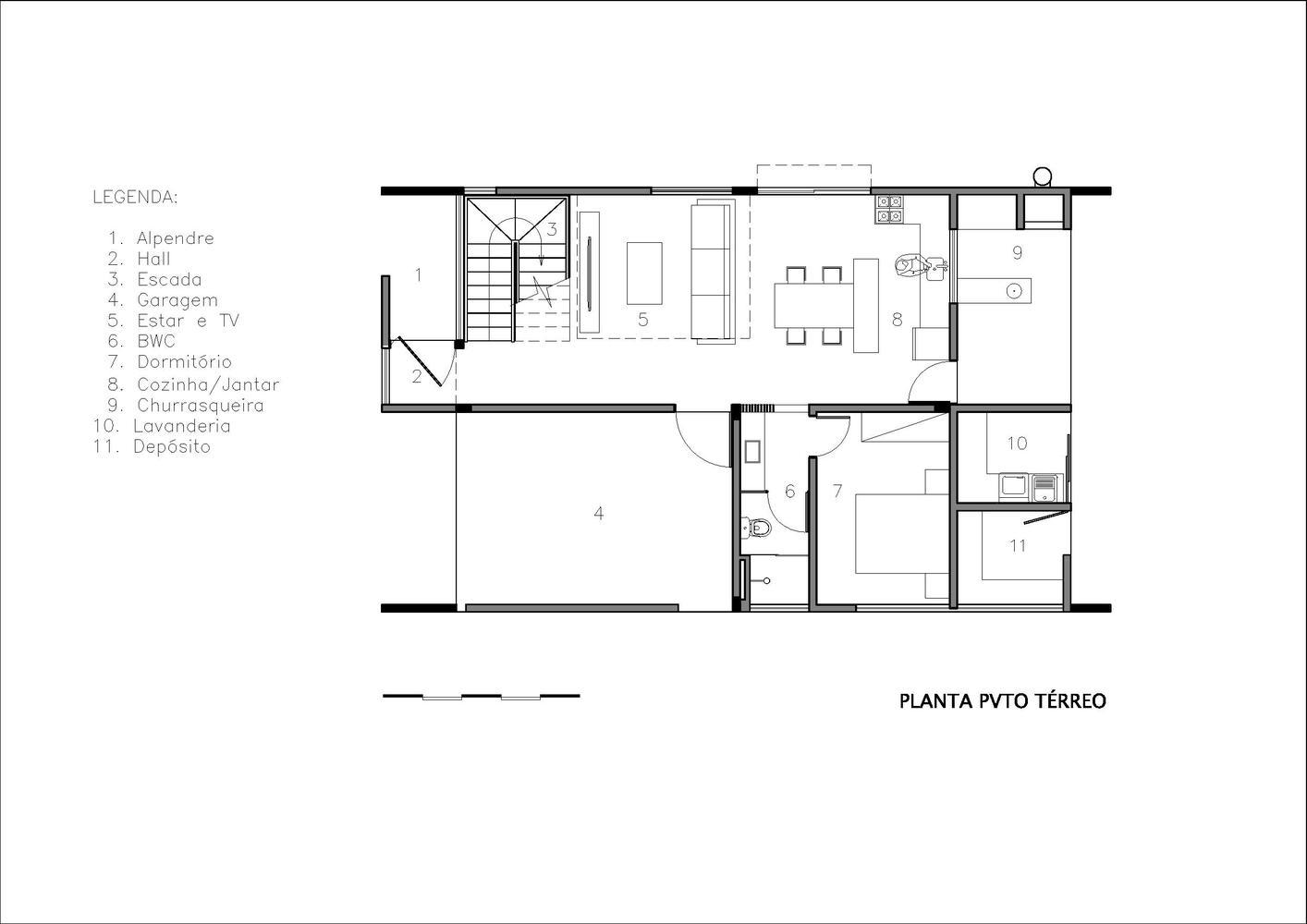 Um dos dormitórios fica no pavimento inferior.