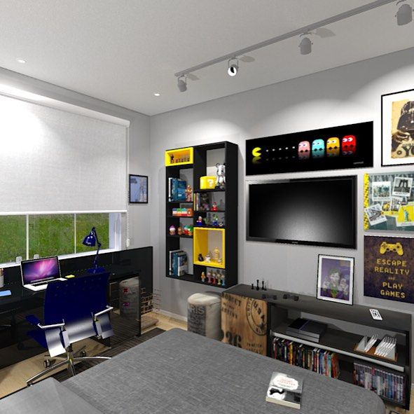 77 Masculine Game Room Design Ideas: Quarto Gamer: 60 Ideias E Dicas Incríveis Para Decorar