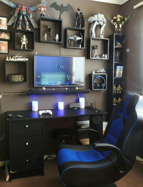 quarto gamer 60 ideias e dicas incr veis para decorar. Black Bedroom Furniture Sets. Home Design Ideas