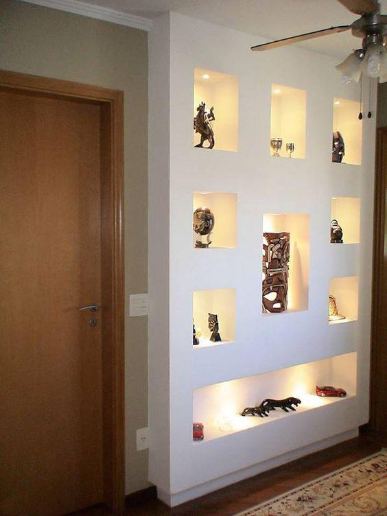 Estante de gesso vantagens e 60 projetos para se inspirar for Disenos de interiores en tablaroca