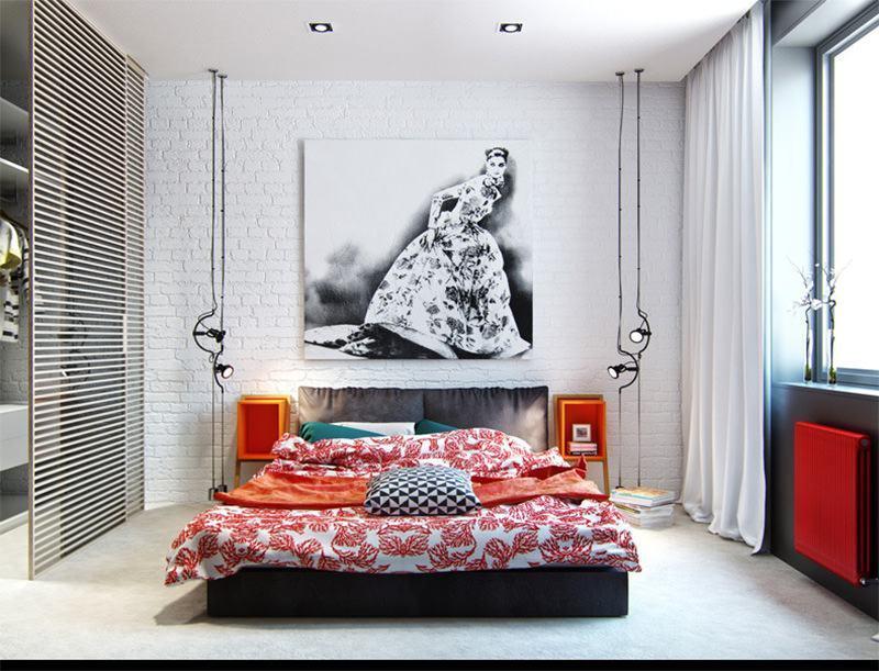 As ripas além de decorar, dividem o armário do quarto