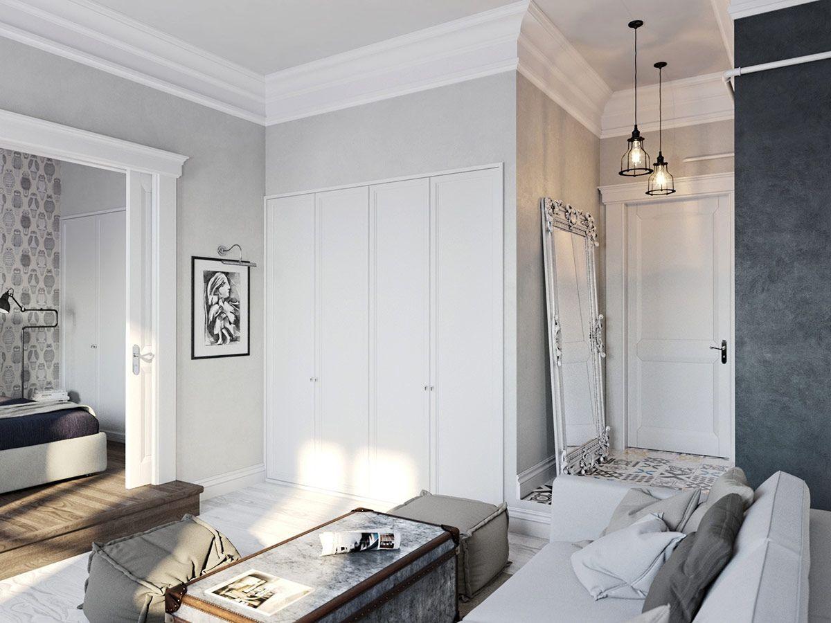 Guarda roupa planejado embutido 60 modelos e dicas for Suelo gris y puertas blancas
