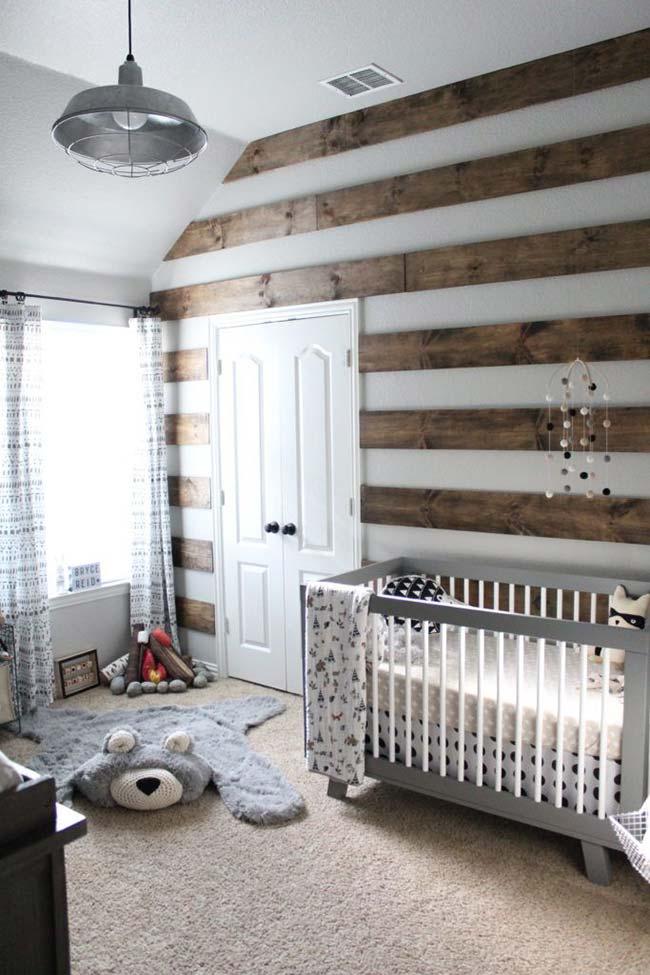 Quartinho de bebê com decoração rústica