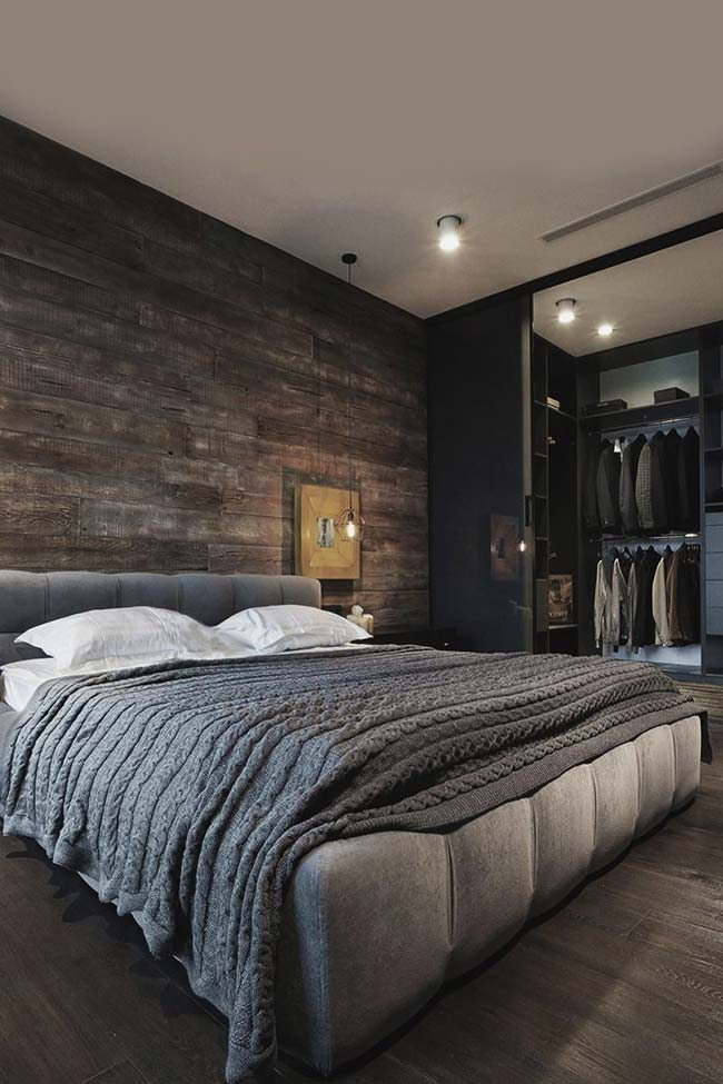 Uma inspiração de quarto de casal rústico e sofisticado