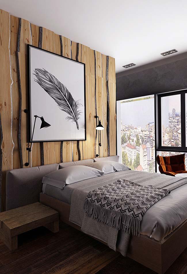 Nesse quarto, a madeira faz um contraste harmonioso com os tons de preto e branco