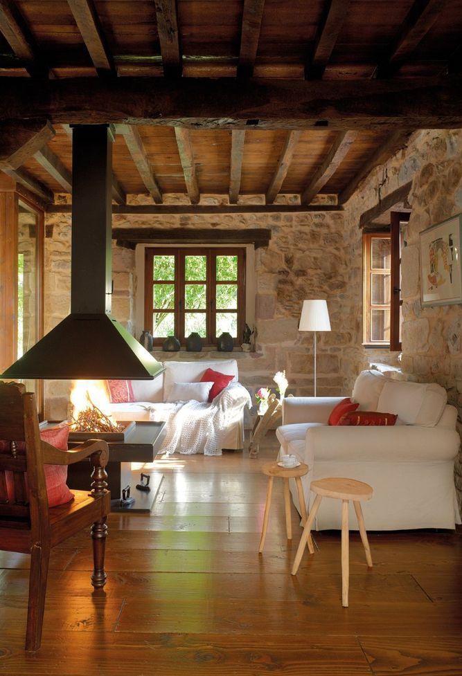 Sala rústica confortável