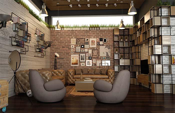 Decoração rústica com móveis de design moderno