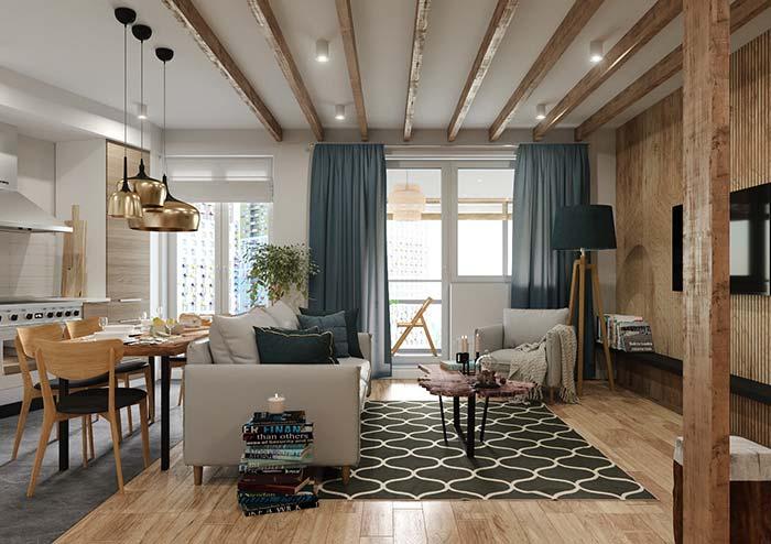 Ambiente com decoração em estilo rústico