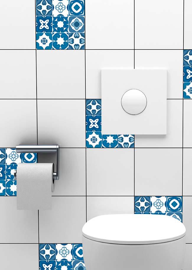 Combinação de azulejo branco com o português