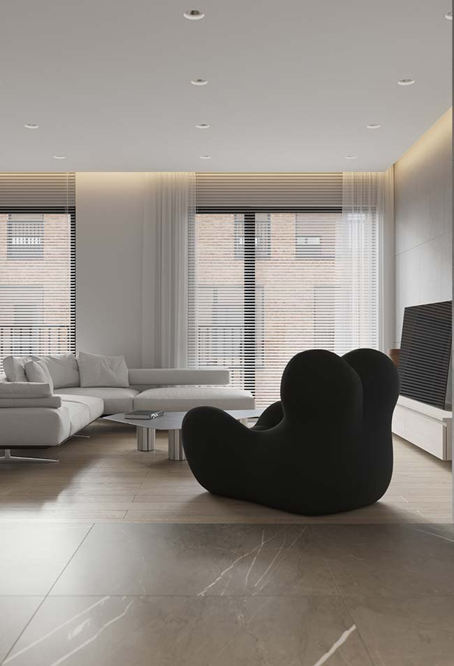 Persiana por baixo e cortina por cima: o clássico e o moderno juntos