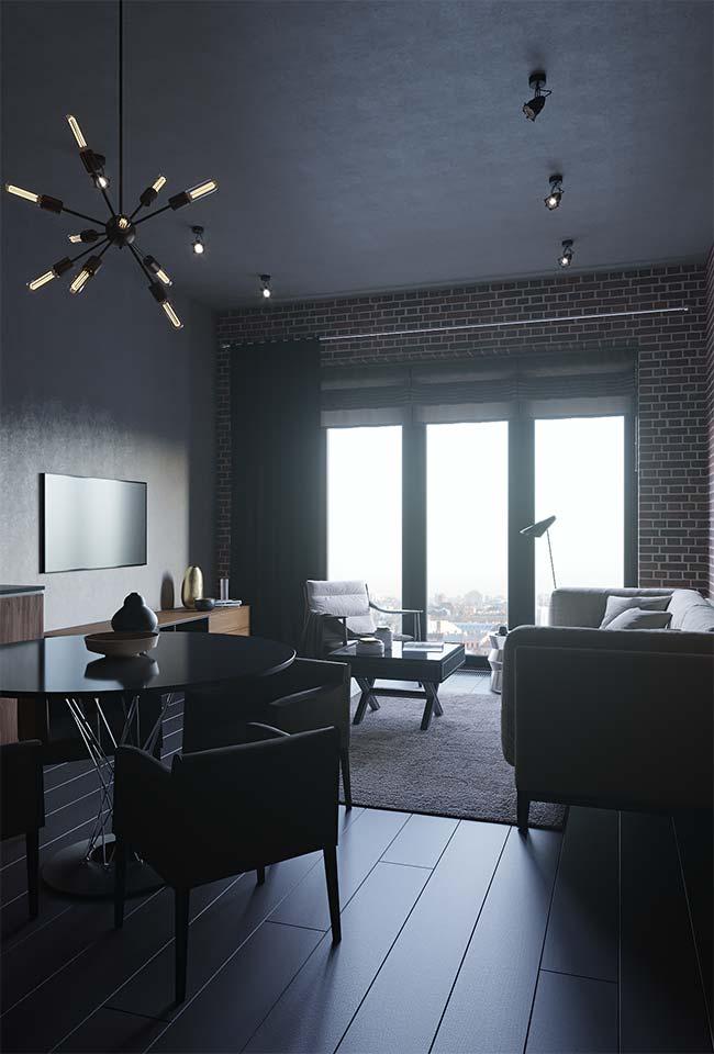 Cortinas para sala: a sala de estilo moderno ganhou uma cortina com varão metálico e de tecido grosso e escuro