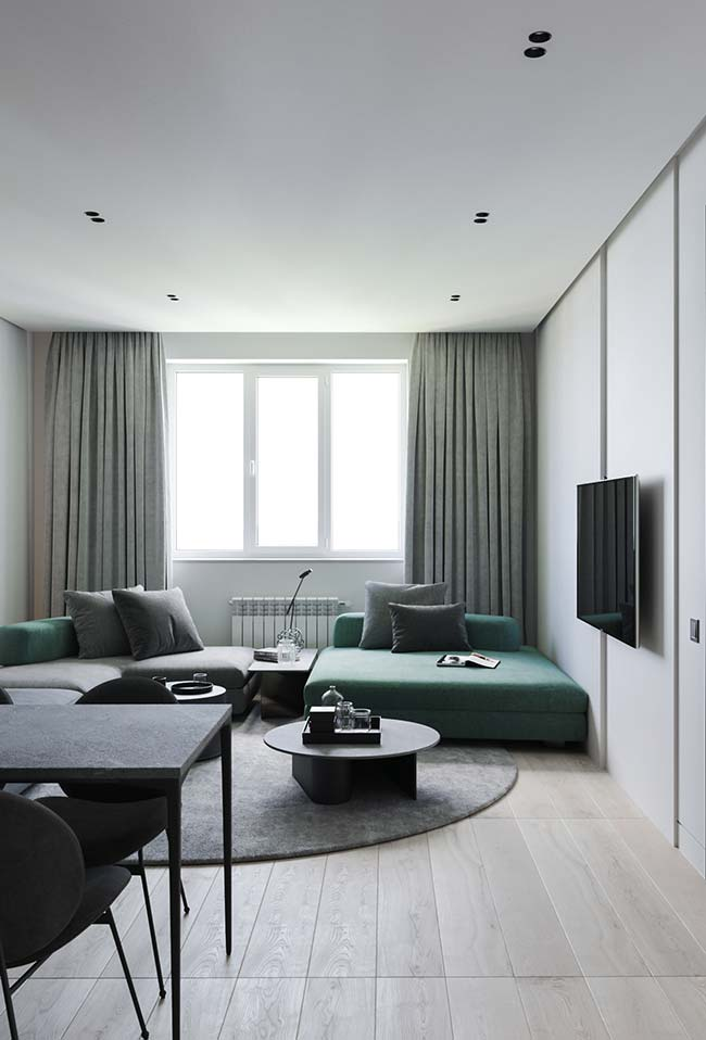 Sofá e cortina para sala no mesmo tom e no mesmo tecido
