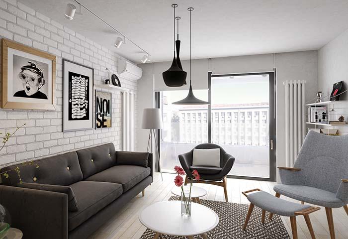 Cortina para sala: a persiana de rolo branca quando fechada se integra à parede da mesma cor