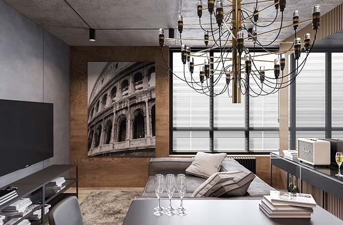 A sala de influência industrial optou pelo uso da persiana horizontal