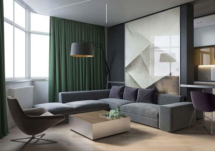 Cortina para sala de influência industrial optou pelo uso da persiana horizontal