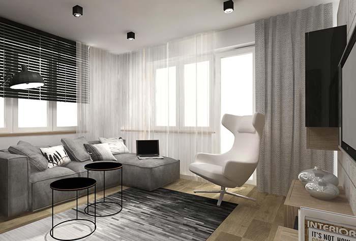Três modelos de cortinas em um só ambiente