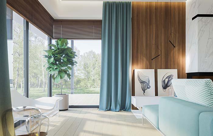Quer cor na cortina, mas de modo discreto e suave? Então, aposte no azul