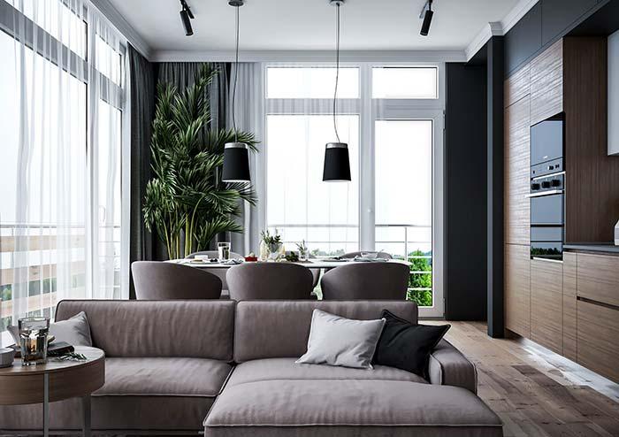 Ambientes integrados se beneficiam de uma única cortina