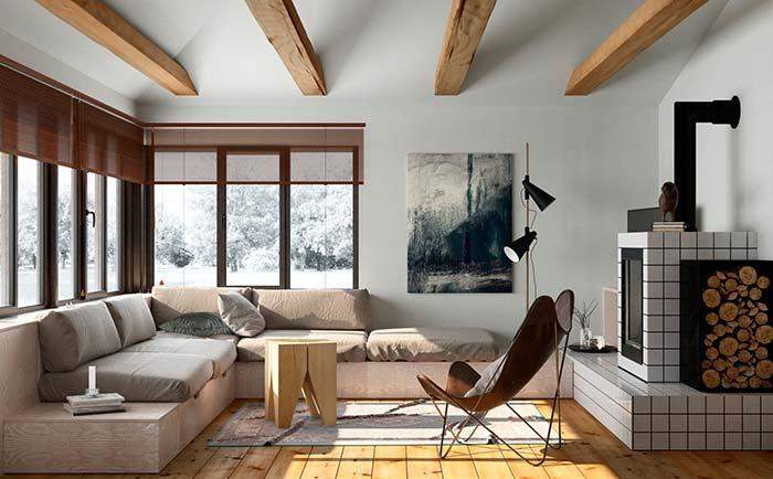As persianas de madeira completam o visual rústico e aconchegante dessa sala