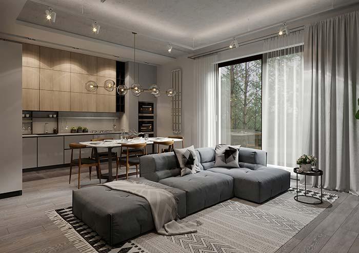 Cinza e branco: combinação ideal para uma cortina neutra e sóbria