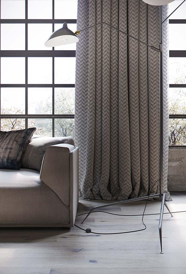 Cortina para sala: o barrado longo dessa cortina com estampa chevron traz um leve ar de despojamento para a sala