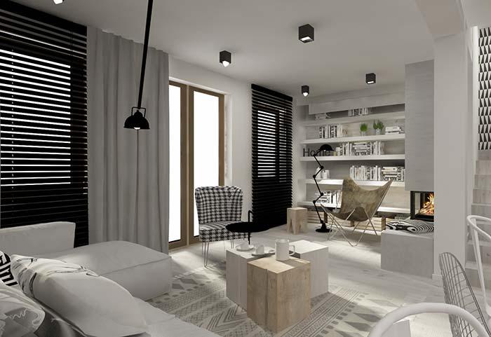 Tecido branco sobre a persiana preta: contraste e funcionalidade em perfeita união