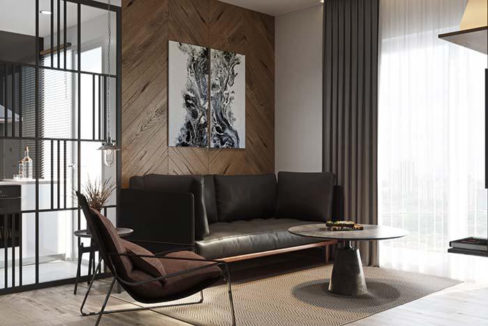 Cortina elegante na mesma cor do sofá