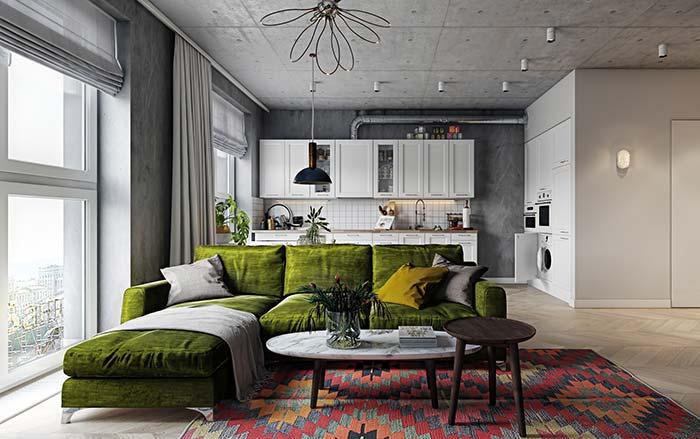 O clássico e o moderno se misturam sem medo nessa decoração: da cortina aos móveis