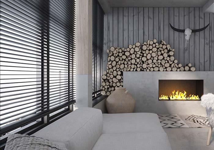 Sala de proposta rústica moderna apostou no uso de uma persiana preta