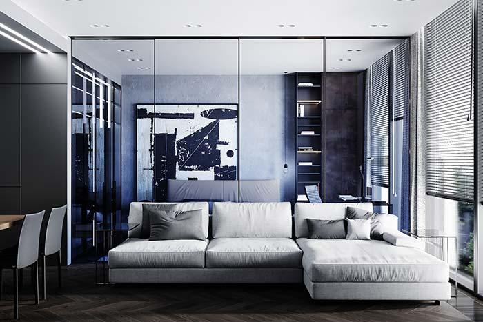 Cortinas para sala: persianas horizontais longas e embutidas no forro de gesso