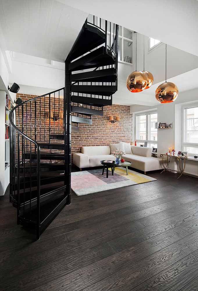 Modelo de escada caracol metálica preta