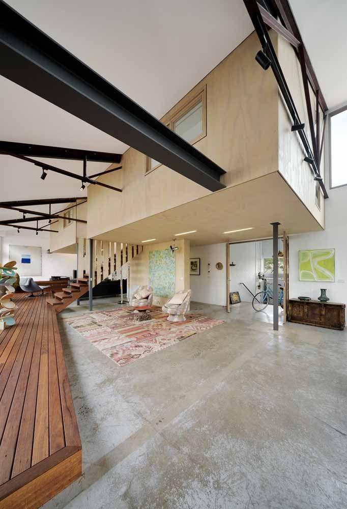 Aposte em pisos diferentes para dividir os espaços