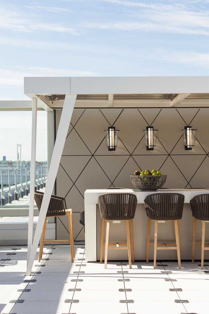 Arandelas externas para o espaço gourmet; um belo complemento da decoração