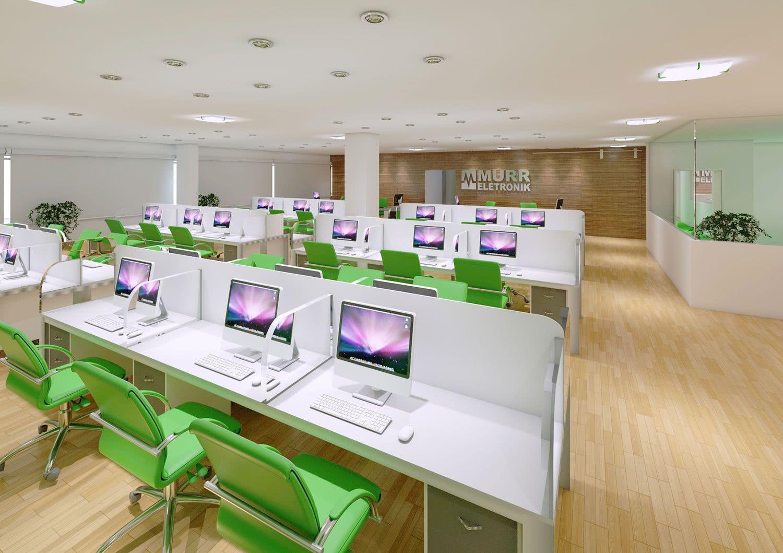 As cadeiras coloridas quebram a neutralidade das estações de trabalho.